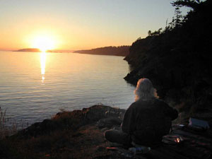 Playing to the sunset on Lopez Island